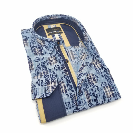 Wagner Print Button-Up Shirt // Navy (S)