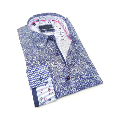 Golan Print Button-Up Shirt // Navy (S)