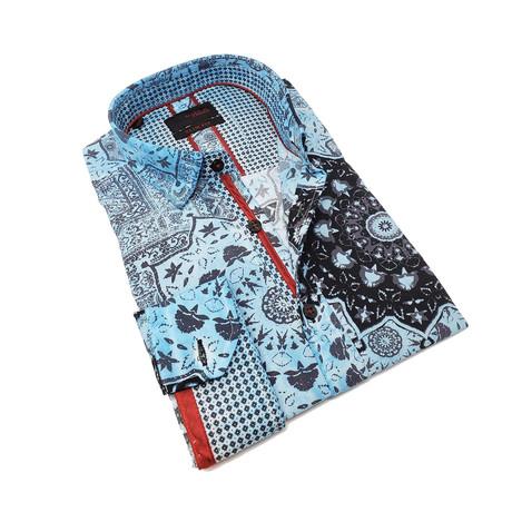 David Print Button-Up Shirt // Aqua (S)