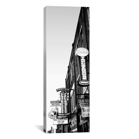"Neon Signs At Dusk, Nashville, Tennessee, USA // Panoramic Images (12""W x 36""H x 0.75""D)"