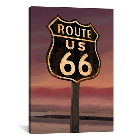 "Route 66 Sign // Chris Consani (12""W x 18""H x 0.75""D)"