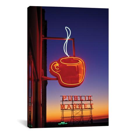 "Coffee Cup & Public Market Neon Signs, Pike Place Market, Seattle, Washington, USA // Paul Souders (12""W x 18""H x 0.75""D)"
