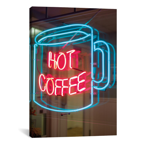 "Hot Coffee Neon Sign, Kane's Donuts, Saugus, Essex County, Massachusetts, USA // Walter Bibikow (12""W x 18""H x 0.75""D)"