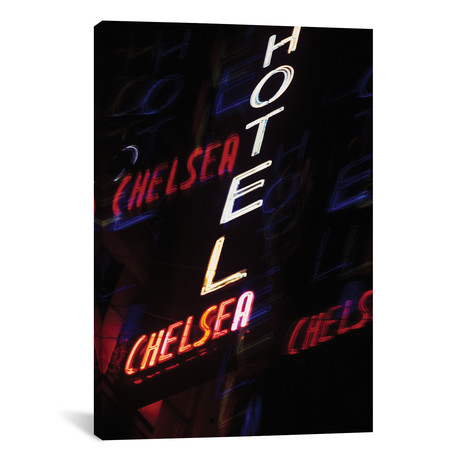 """2000s Multiple Exposure Neon Sign Hotel Chelsea New York City New York USA // Vintage Images (12""""W x 18""""H x 0.75""""D)"""