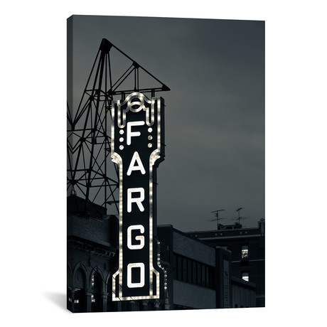 "Neon Sign In B&W, Fargo Theatre, Fargo, Cass County, North Dakota, USA // Walter Bibikow (12""W x 18""H x 0.75""D)"