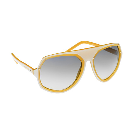 Unisex RAF1D Angular Aviator Sunglasses // Pearl + Orange