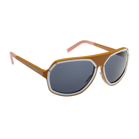 Unisex RAF5C Angular Aviator Sunglasses // Orange + White