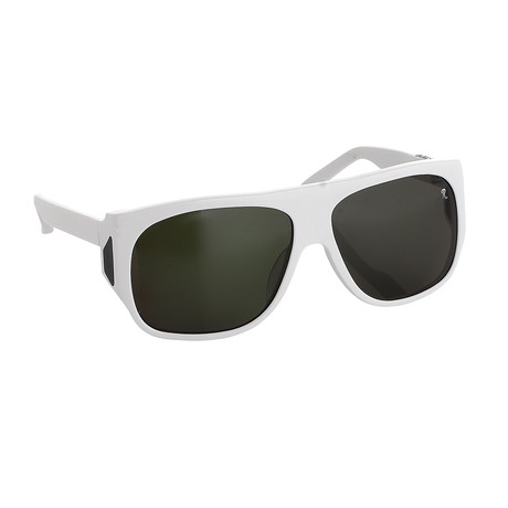 Unisex RAF23C2 Wraparound Sunglassses // White + Silver