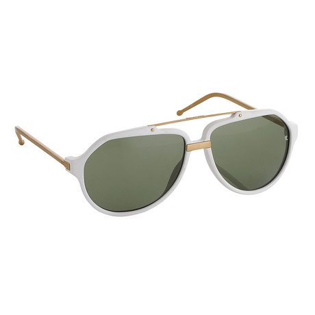 Unisex RAF14C7 Aviator Sunglasses // White + Gunmetal