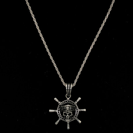 "Pirates Ship Necklace + 24"" Rope Chain"