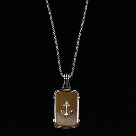 925 Solid Sterling Silver Anchor Dog Tag Necklace (Tiger Eye)