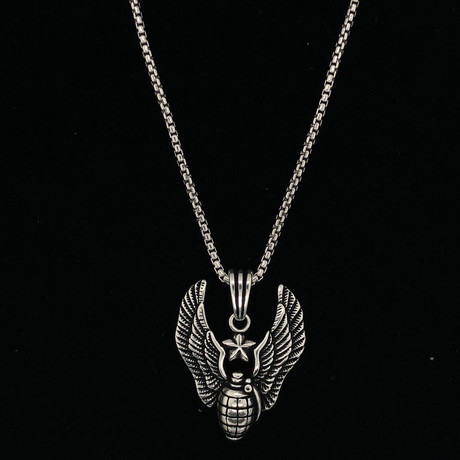 "Solid Sterling Silver Angel To Heaven Necklace + 22"" Round Box Chain"