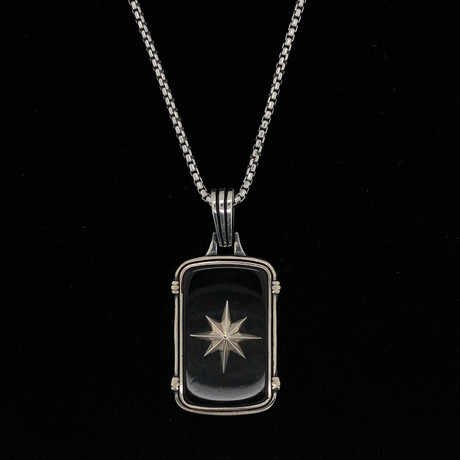 925 Solid Sterling Silver Shooting Star Dog Tag Necklace (Black Onyx)