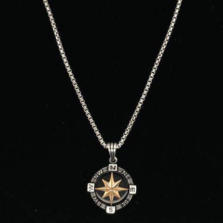 "Stone Compass Necklace + 22"" Round Box Chain (Black Onyx)"