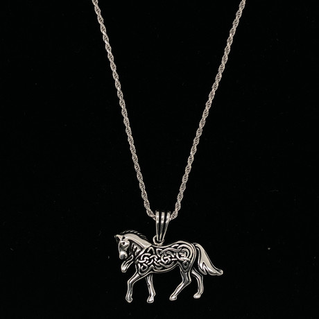 "Filigree Horse Necklace + 24"" Rope Chain"