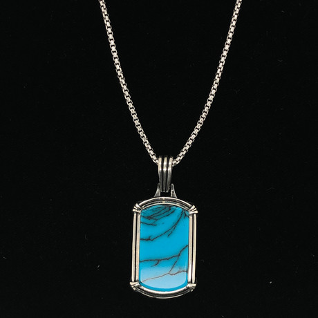 "Turquoise Dog Tag Necklace + 22"" Round Box Chain"