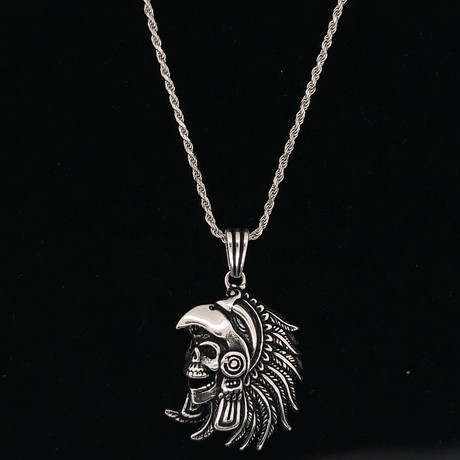"Solid Sterling Silver Indian Skull Pendant Necklace + 24"" Rope Chain"