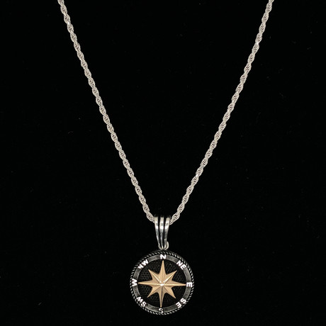 "Compass Necklace + 24"" Rope Chain"