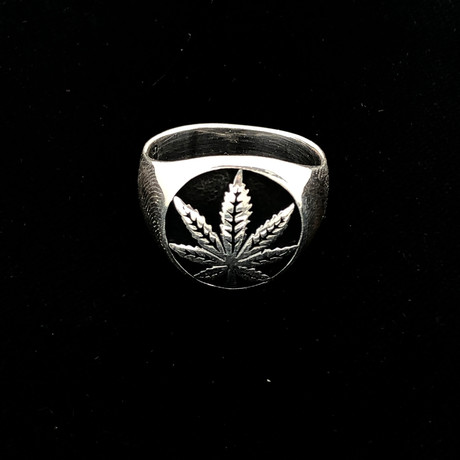 Cannabis Men's Ring (Size 8)