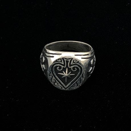 Solid Sterling Silver Shooting Star Ace Of Spades Men's Ring (Size 8)