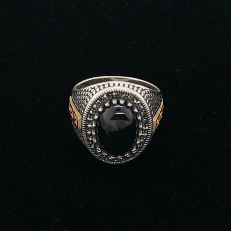 Black Onyx Greek Key Design Ring (Size 8)