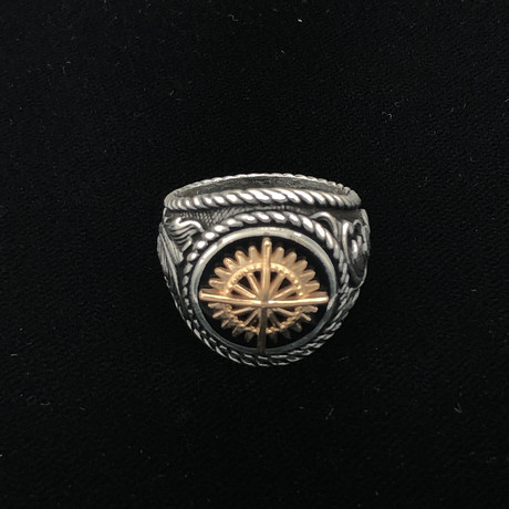 Two Tone Compass Men's Ring (Size 8)