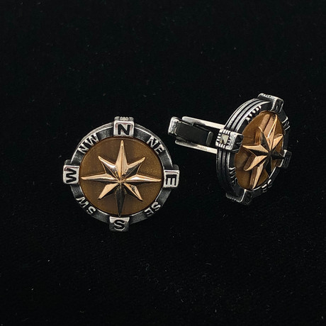 925 Solid Sterling Silver Tiger Eye Compass Cufflinks
