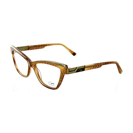 Cazal // Women's Cat Eye Optical Frames // Cognac + Crystal + Gold