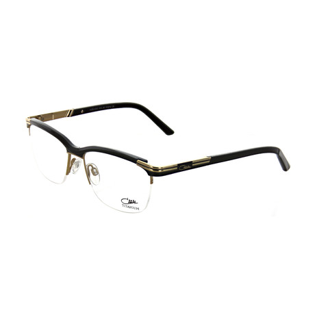 Cazal // Women's Square Optical Frames // Black + Gold