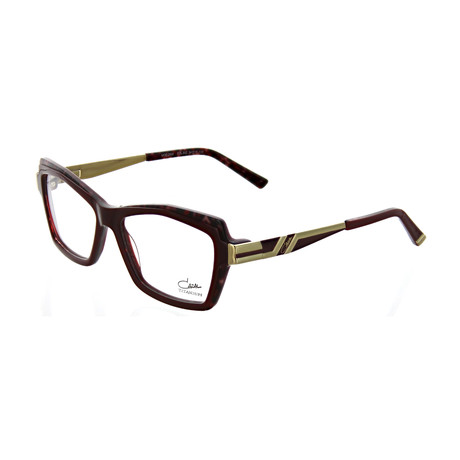 Cazal // Women's Square Optical Frames // Burgundy + Cheetah + Gold
