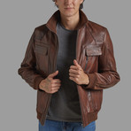Robert Leather Jacket // Chestnut (XL)