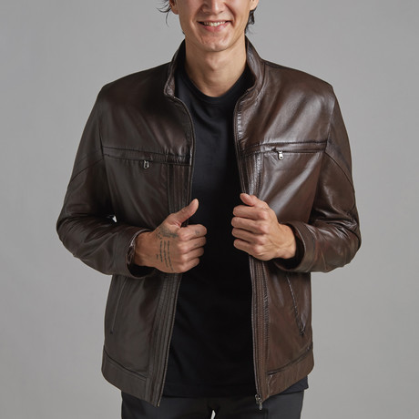 Noah Leather Jacket // Brown (XS)