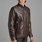 Noah Leather Jacket // Brown (2XL)