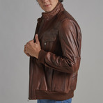 Robert Leather Jacket // Chestnut (2XL)