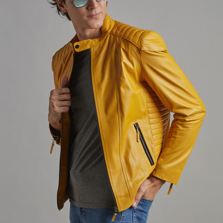 Dylan Leather Jacket // Yellow (XS)
