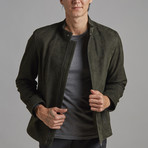 Henry Leather Jacket // Olive (XL)