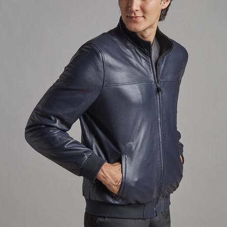 Nolan Leather Jacket // Navy (XS)