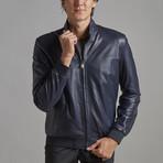 Nolan Leather Jacket // Navy (M)