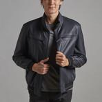 Santiago Leather Jacket // Navy (XS)