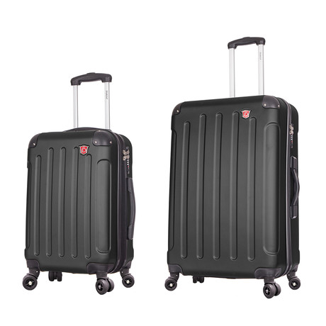 "Intely Smart Hardside Spinners // Set of 2 // 20"" Carry-On + 28"" Checked Bag (Black)"