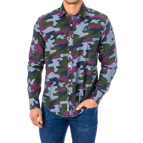 Nicolas Long Sleeve Shirt // Multicolor + Camo (Small)