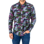 Nicolas Long Sleeve Shirt // Multicolor + Camo (X-Large)