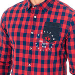 Cleo Long Sleeve Shirt // Red + Blue (X-Large)
