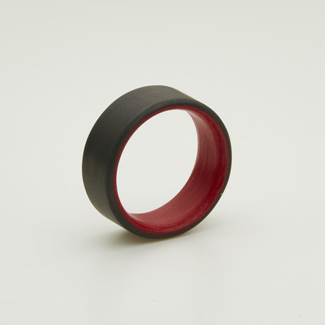 Carbon Fiber Unidirectional Ring // Red Inside (5)