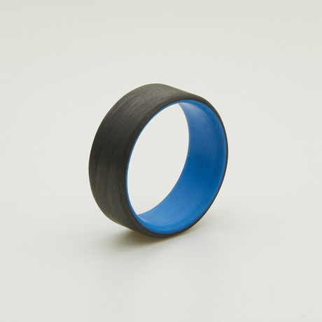 Carbon Fiber Unidirectional Ring // Blue Inside (5)