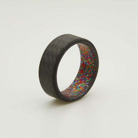 Carbon Fiber Twill Ring // Multi Sparkle Interior (5)