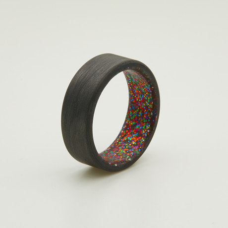 Carbon Fiber Unidirectional Ring // Multi Sparkle Interior (5)