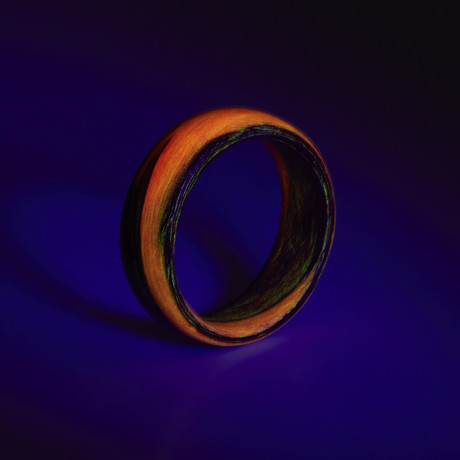 Carbon Fiber Red Marbled Glow Ring (5)