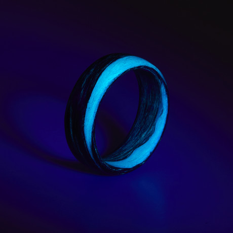 Carbon Fiber Teal Marbled Glow Ring (5)