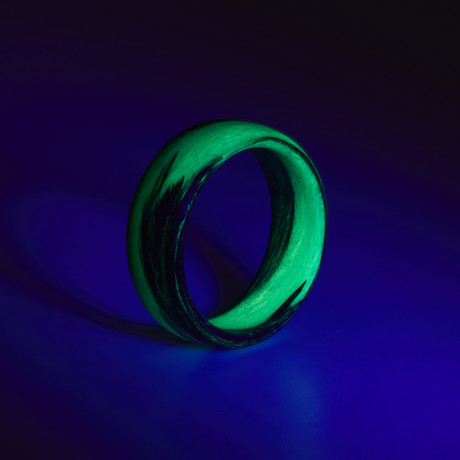 Carbon Fiber Green Marbled Glow Ring (5)